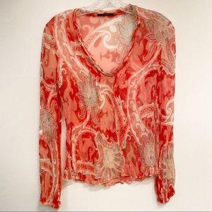 Elie Tahari Women's 100% Silk Long Sleeve Top XS
